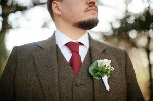 Tweed Wedding Suit and Red Tie