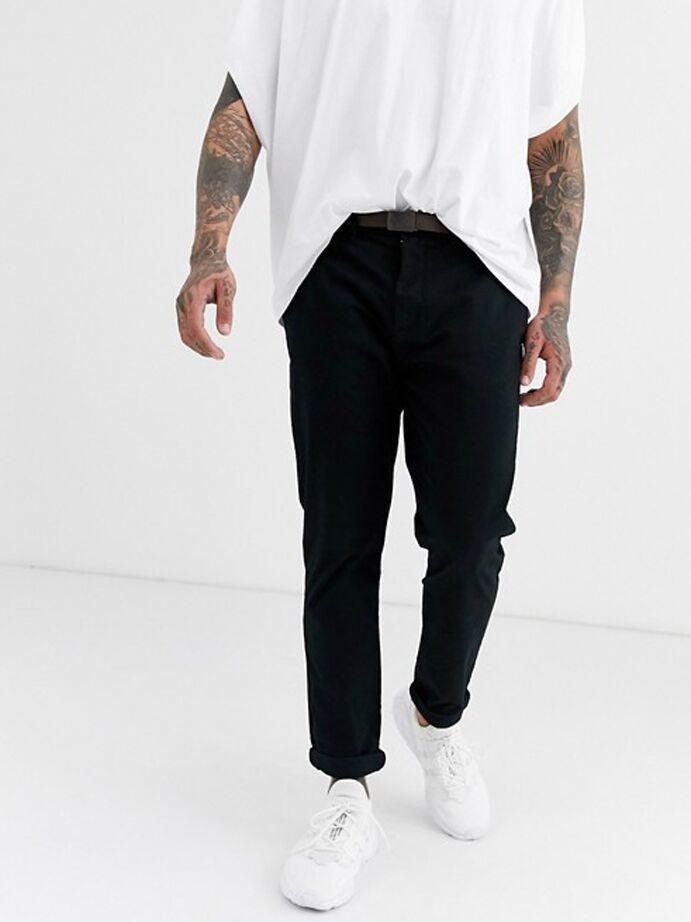 Black skinny chino pants