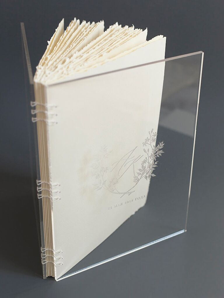 etsy acrylic transparent wedding guest book idea with botanical monogram cover