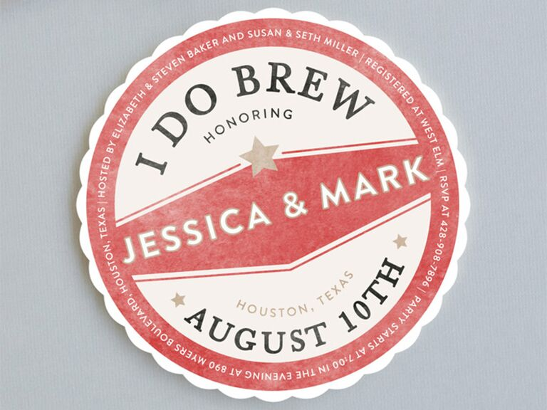 Circular coaster with I Do Brew text and red and white background