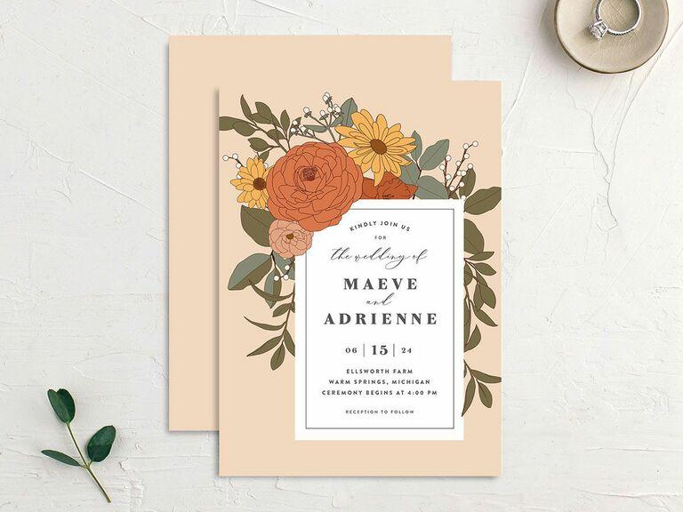 retro fall wedding invitation