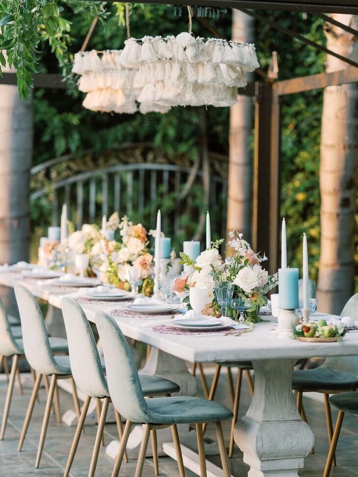 Blue Tablescape at Beach Wedding in San Diego