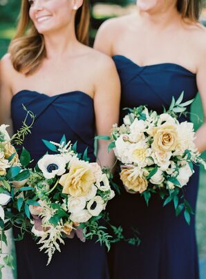 Navy Dresses and Yellow Bouquets at Rustic Estate Wedding in Ladue, Missouri