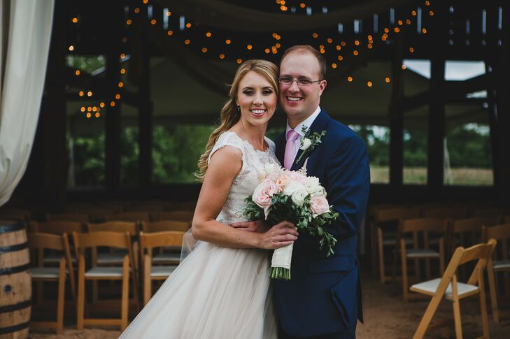 """This rustic-chic wedding is totally Kentucky. """"We are country people, and that was pretty evident throughout our wedding,"""" Molly Maggard (26 and a phy"""
