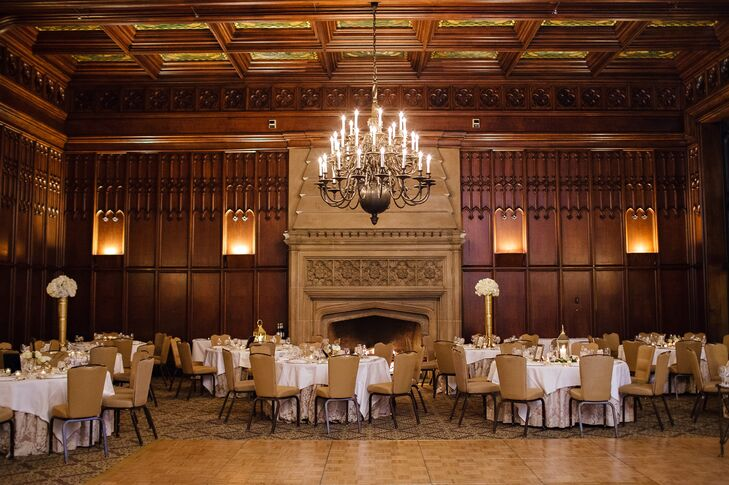 """""""With the fireplaces, limestone, grand staircase and wood walls, we knew [The University Club of Chicago] was the place where we wanted to celebrate the beginning of our lives together,"""" says Amanda."""