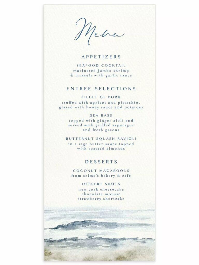 Watercolor sea design on bottom, menu items in minimalist blue type