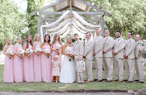 Neutral Wedding Party in Petal Pink and Tan