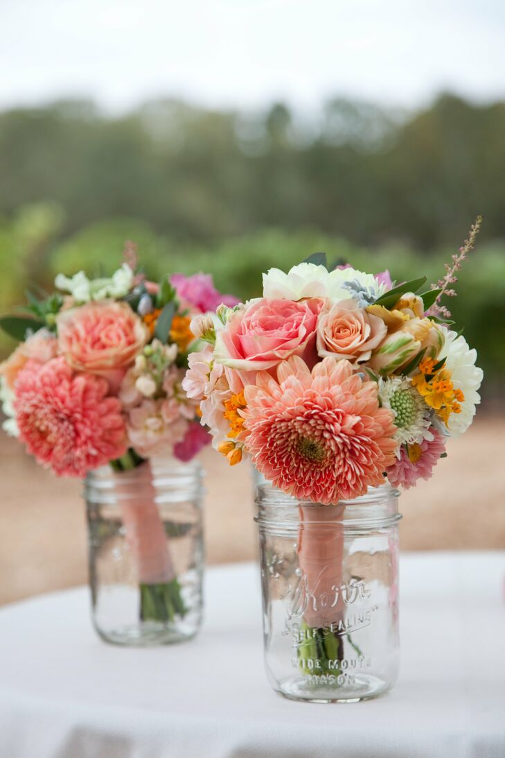 Coral Hued Bridesmaid Bouquets