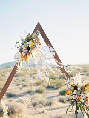 Triangular Wedding Arch Set the Stage for Boho Desert Wedding Ceremony