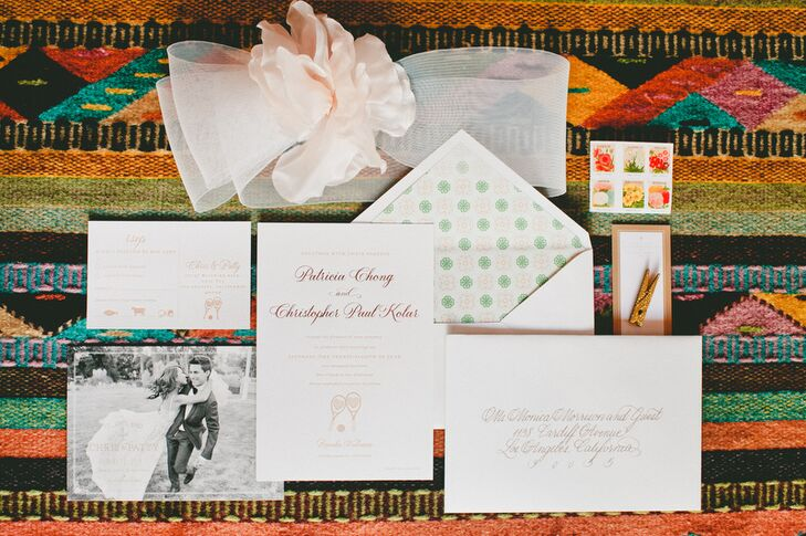 Urbanic Paper Boutique worked with Patricia and Christopher to design a formal invitation suite with a playful twist. The couple's tennis racket motif featured on both the invitation itself and the response card, a nod to the day they met.