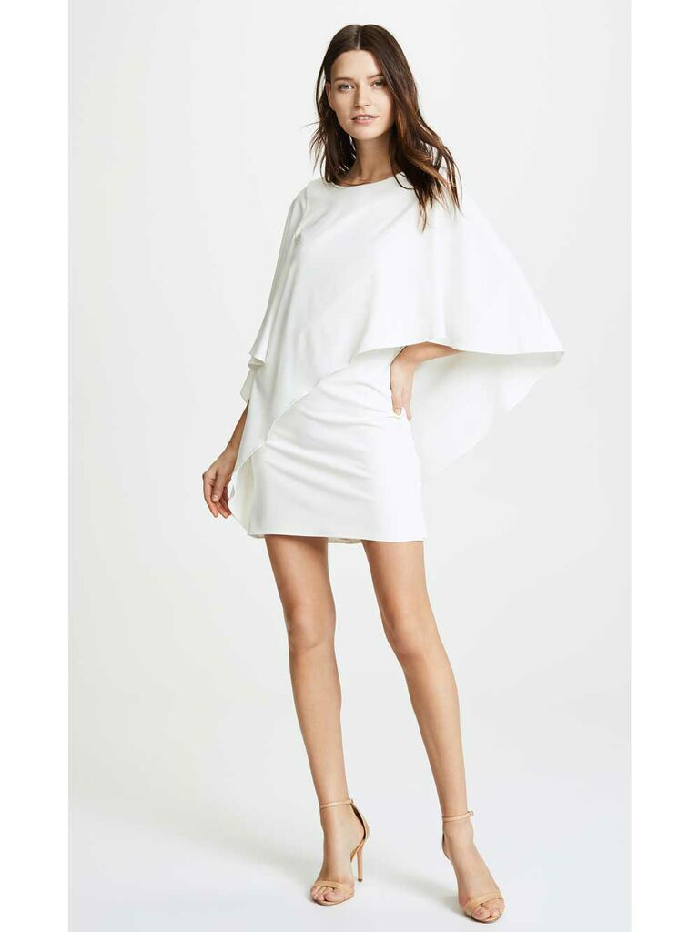 Short simple wedding dress with draped sleeves