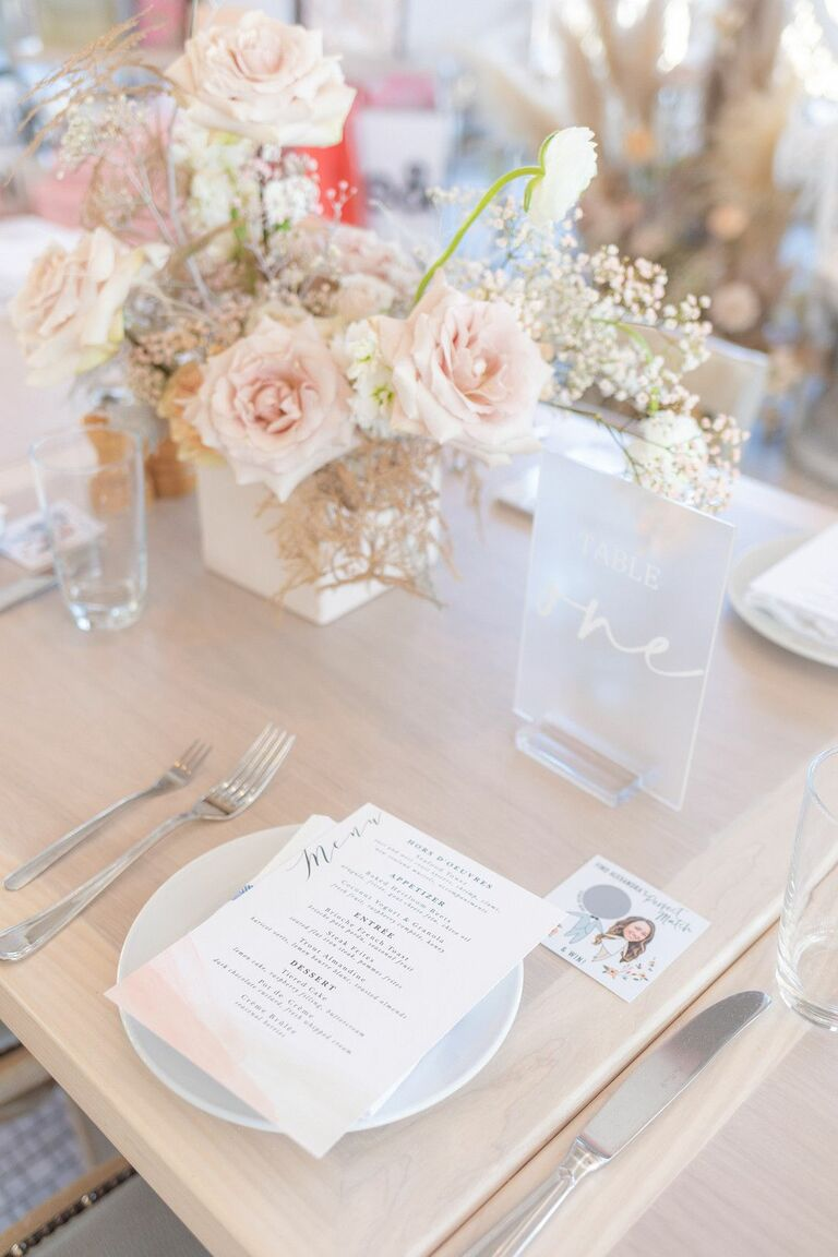 Place setting with scratch-off door game at wedding shower