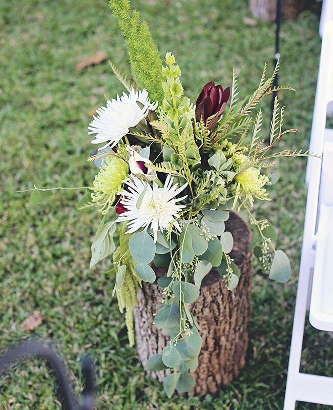 rustic eucalyptus ceremony flowers |<img class=