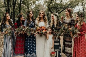 Bride and Bridesmaids in Long Bohemian Gowns