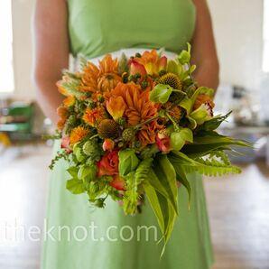 Orange and Green Bridesmaid Bouquet