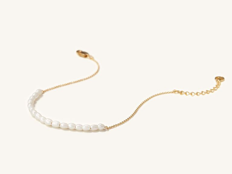Dainty gold and pearl bracelet gift for mother-in-law