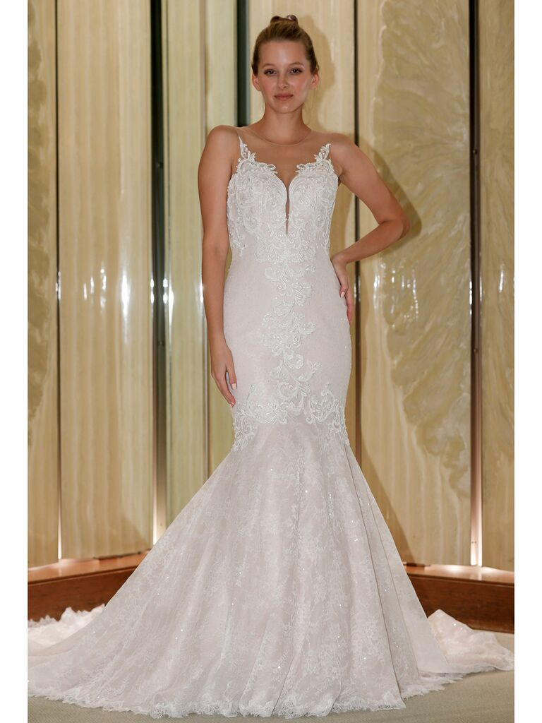 Randy Fenoli Fall 2019 Bridal Collection sparkly fit and flare wedding dress with illusion keyhole and embellished straps