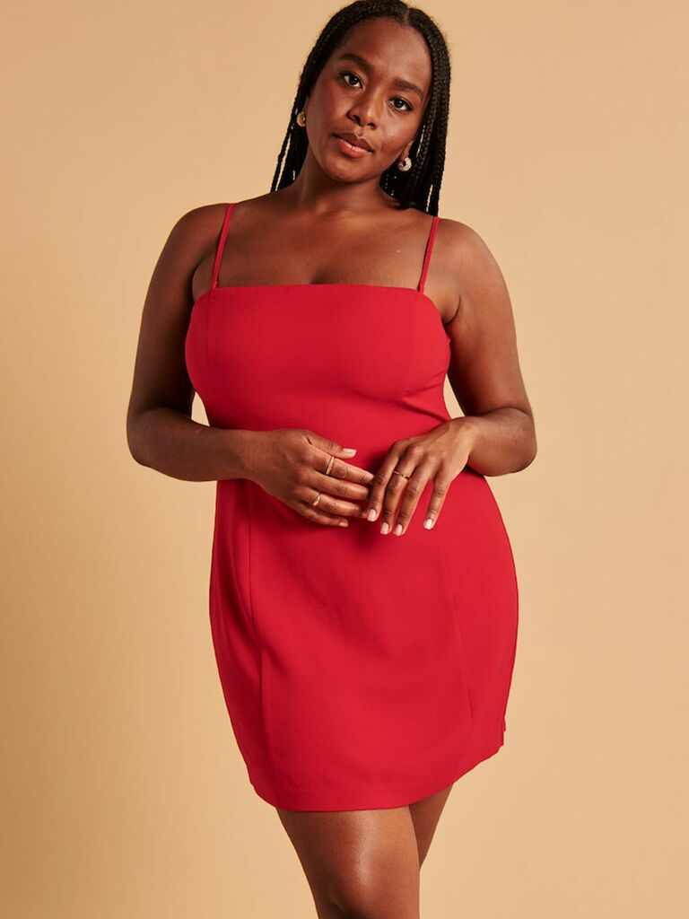 Red fall wedding guest mini dress with removable straps