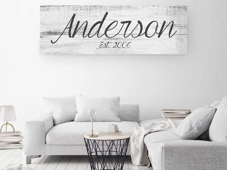 Family name on canvas gift for boyfriend/girlfriend's parents