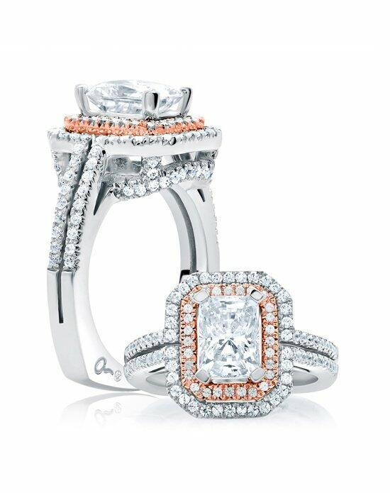 A.JAFFE Double Halo Emerald Cut Rose Gold Diamond Engagement Ring,MES637 Engagement Ring photo