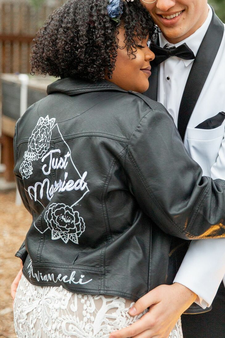 Custom Vegan Leather Jacket on Bride at Riverbed Farms in Anaheim, California