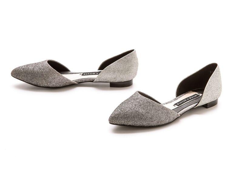 Silver glitter wedding flats