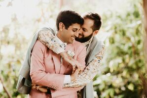 Grooms in Pastel Colors at Whimsical Backyard Wedding