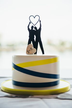 Ivory, Blue and Yellow Cake With Topper
