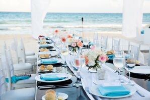 Turquoise and Coral Beach Dining Table