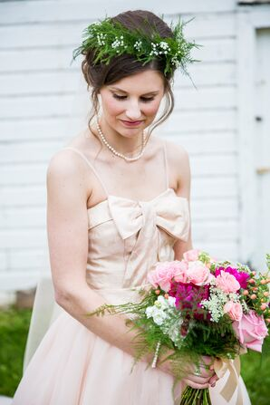 Green Fern and Baby's Breath Flower Crown
