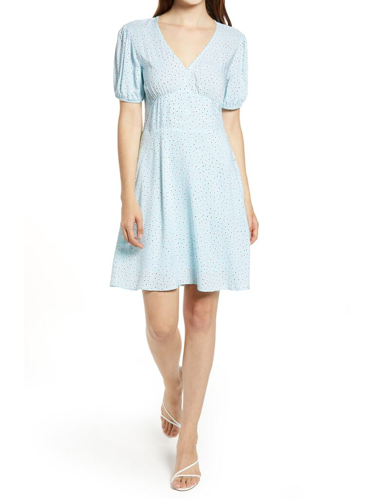 Puff sleeve light blue mini dress with small red polka dots