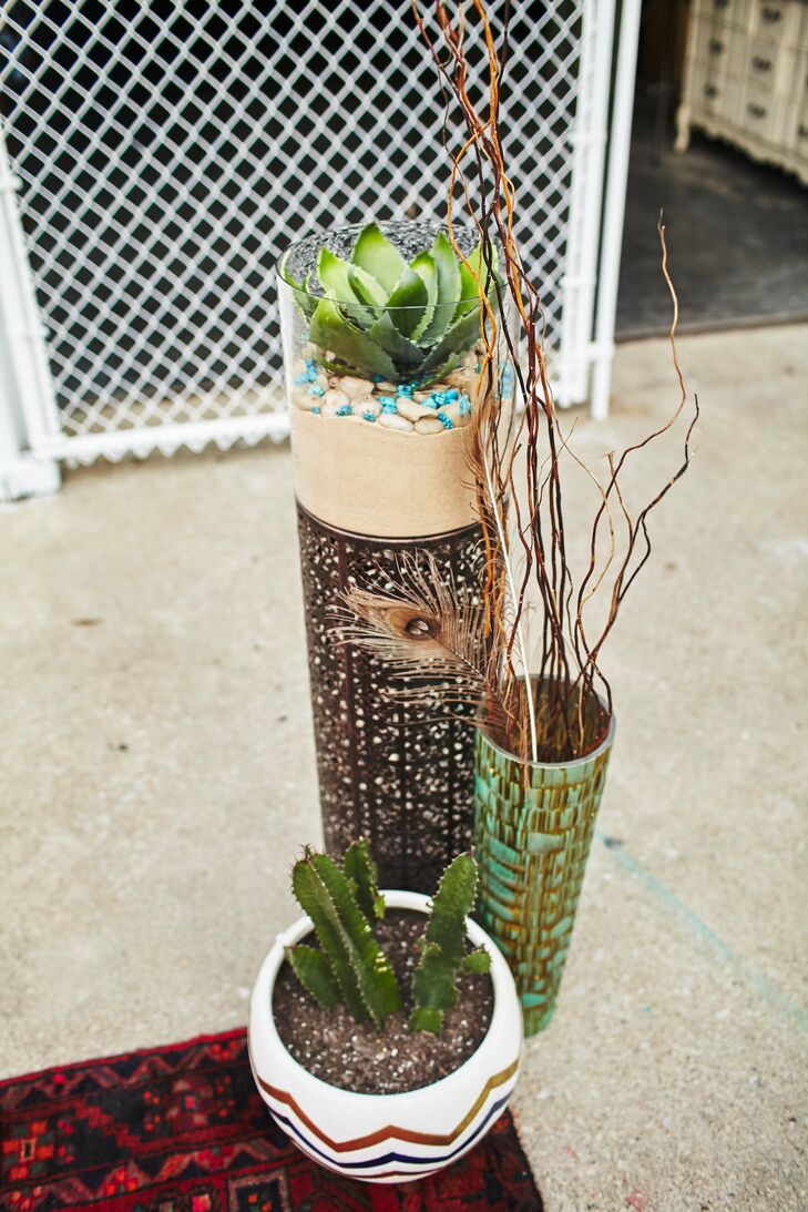 Angela planted all the cacti and succulents eight months before the wedding and had to keep them alive. And she planted them in a variety of bass, ceramic and glass pots that she had been collecting.