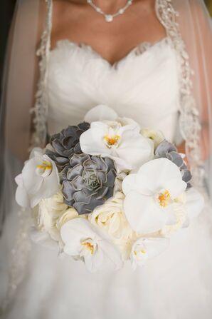 Orchid and Succulent Bridal Bouquet