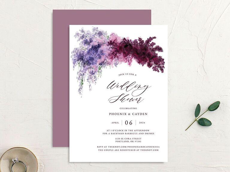 Purple floral crowd design above details in elegant type