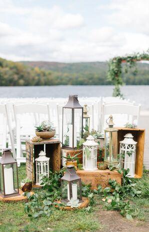 Vintage Lanterns, Wood and Succulent Aisle Decorations