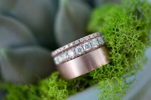 Bold Diamond-Decorated Rose Gold Wedding Rings