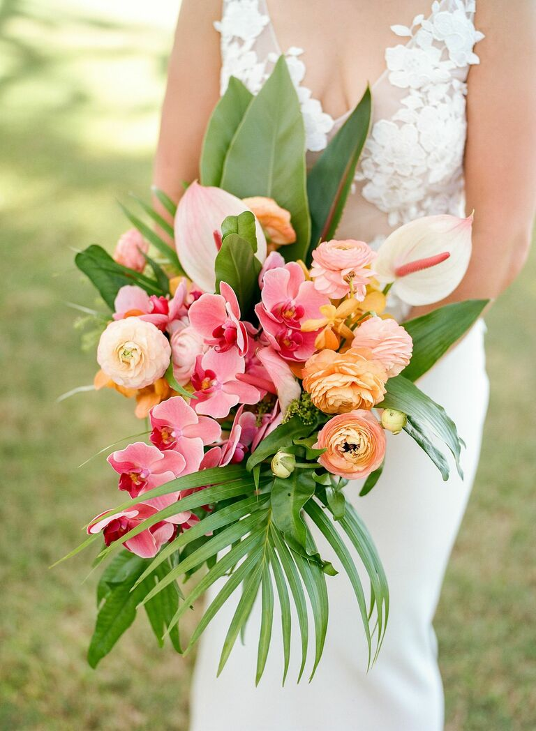 tropical bouquet with pink orchids