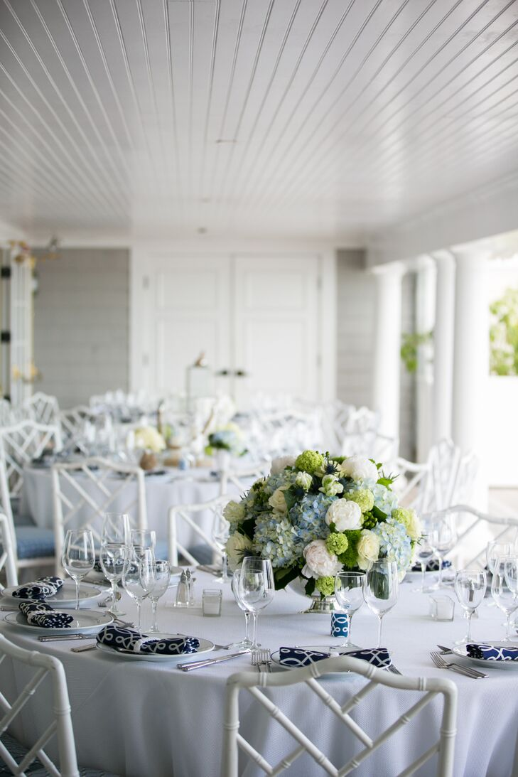 Green and Blue Hydrangea Centerpieces