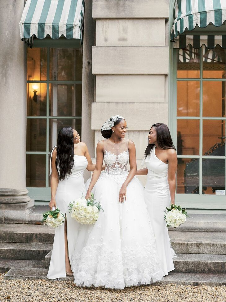 Wedding Party in Long White Dresses