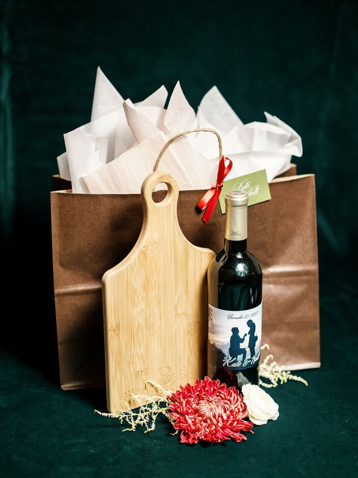 Custom Cheese Board and Wine Wedding Favors