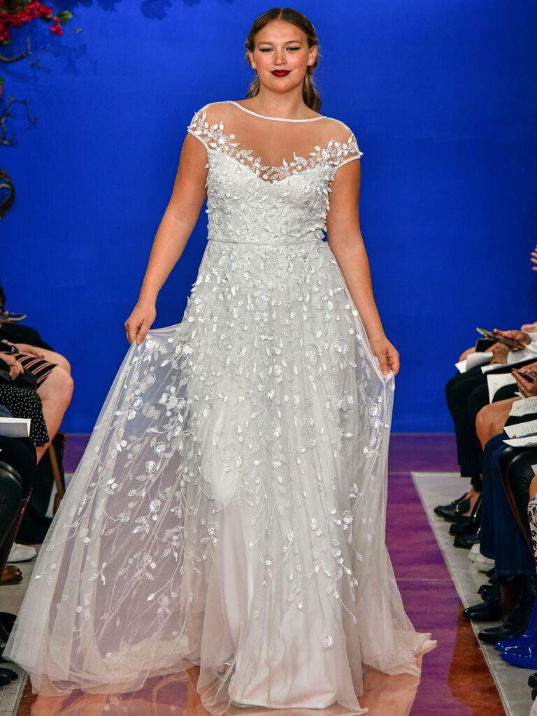 theia wedding dress cap sleeve ballgown