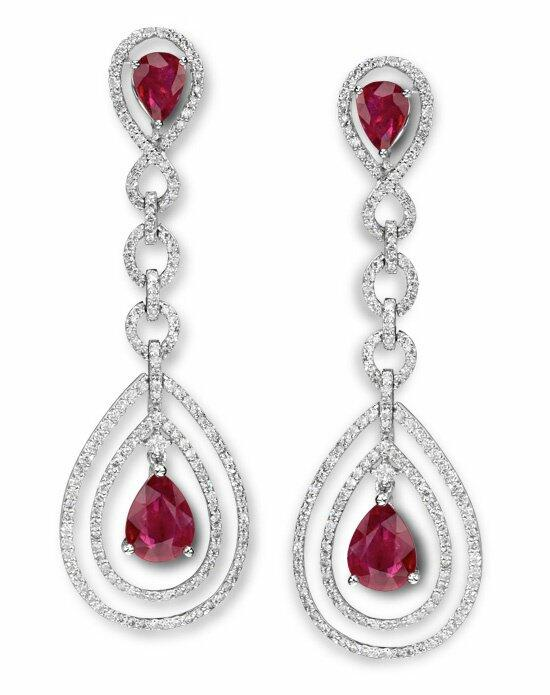 Diamond Ideals Fine Jewelry Ruby and Diamond Drop Earrings Wedding Earrings photo
