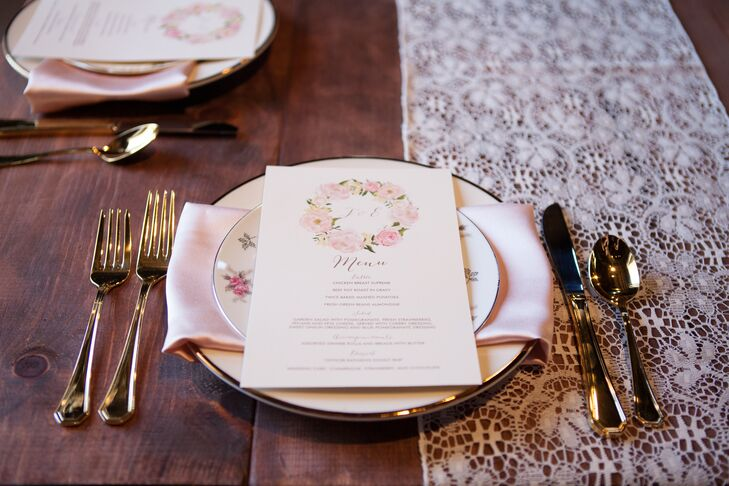 Antique Dinner Plates with Lace Table Runners