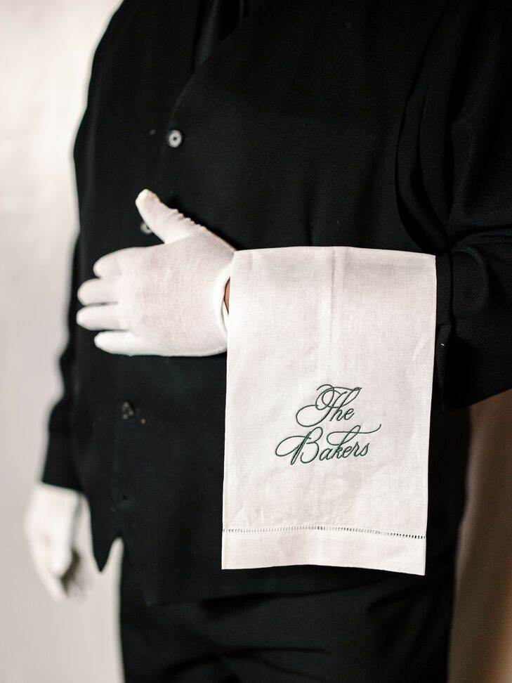 Custom Server Towels for Wedding at The Caramel Room in St. Louis, Missouri