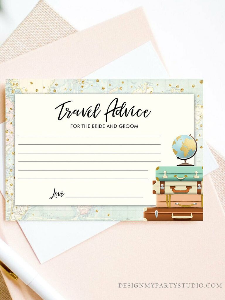 'Travel advice for the bride and groom' in black script with lines for guests to fill out, luggage and globe graphics on right side and map border detail