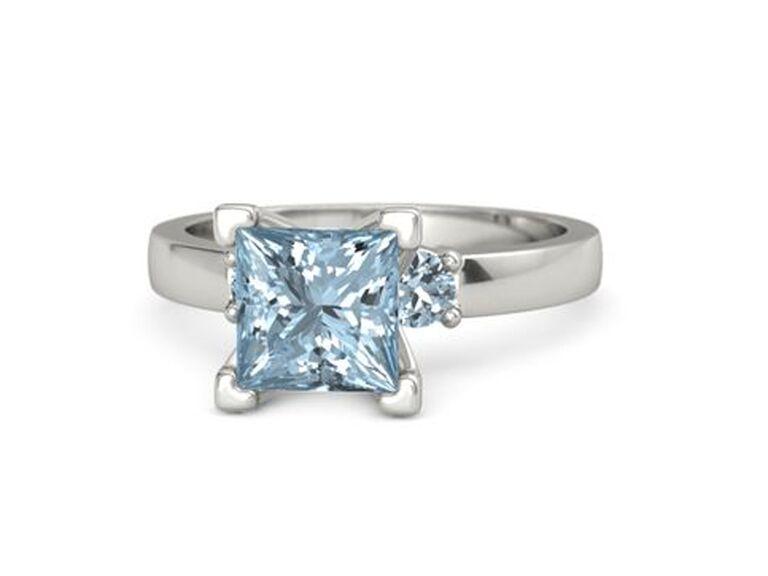 gemvara square aquamarine engagement ring and platinum band