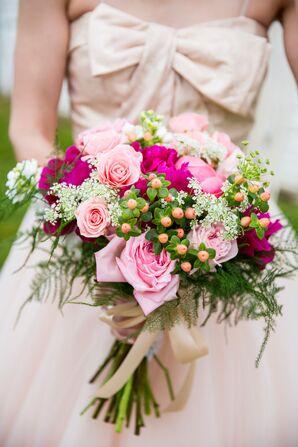Pink Rose, Hypericum Berry, Peony Bridal Bouquet