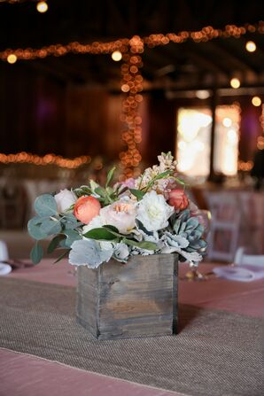 Rustic Wooden Box With Peach Flower Centerpiece