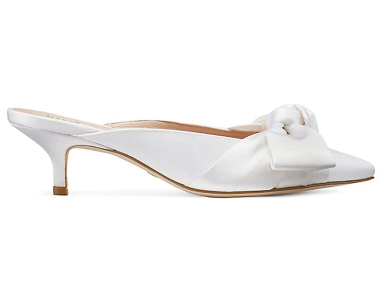stuart weitzman white bride slippers with short heel and bow