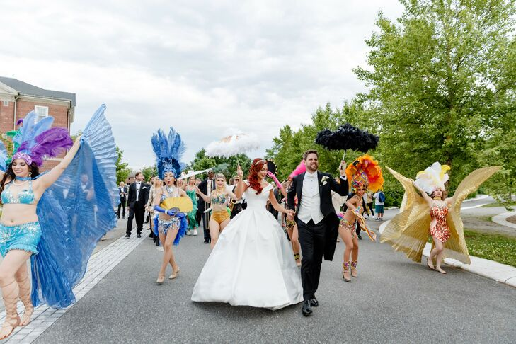 Second Line Parade During Wedding on Governor's Island in New York
